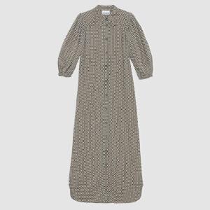 Ganni Women's Printed Crepe Midi Dress - Tannin