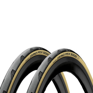 Continental Grand Prix 5000 Tan Wall Limited Edition Clincher Road Tyre Twin Pack – 700c x 25mm