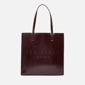Ted Baker Women's Abzcon Crinkle Patent Embossed Large Icon Tote Bag - Deep Purple