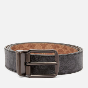 Coach Men's 38mm Cut-To-Size Harness Belt in Signature Canvas - Charcoal/Khaki