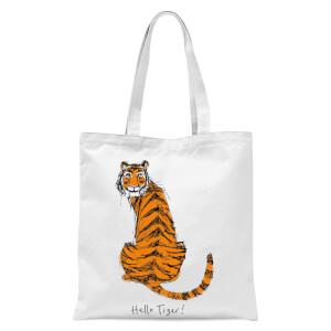 Poet & Painter Hello Tiger Tote Bag - White