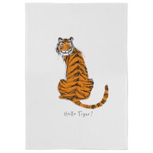Poet & Painter Hello Tiger Cotton Tea Towel - White