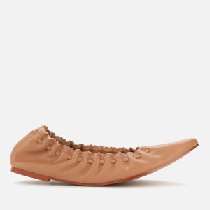 See By Chloé Women's Jane Leather Ballet Flats - Open Brown