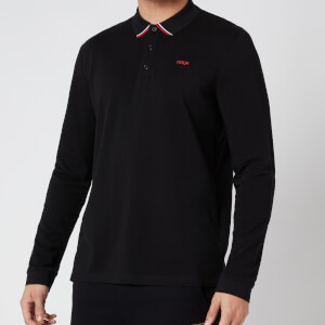 HUGO Men's Donal211 Long Sleeve Polo-Shirt - Black