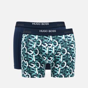 BOSS Bodywear Men's Print Boxer Briefs Two Pack - Open Blue