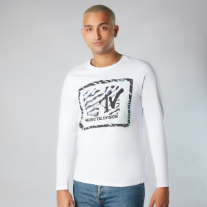 MTV Zebra Pattern Unisex Long Sleeve T-Shirt - White