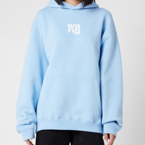 Alexander Wang Women's Garment Washed Hoodie with Wang Puff Print - Light Blue