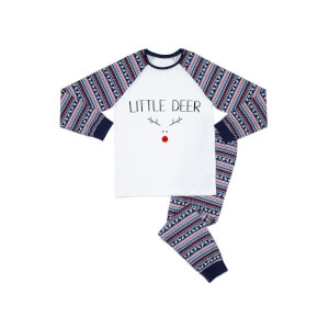 Little Deer Kids' Patterned Pyjamas - White / Navy
