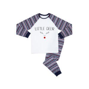 Little Deer Kids' Patterned Pyjamas - White / Navy