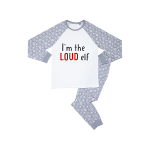 I'm The Loud Elf Kids' Patterned Pyjamas - White / Grey