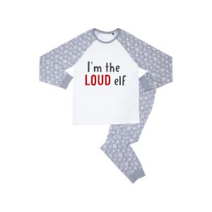 I'm The Loud Elf Kids' Patterned Pyjamas - White / Grey