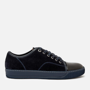 Lanvin Men's Suede/Patent Captoe Low Top Trainers - Dark Blue