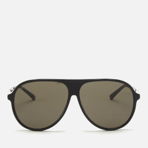 Gucci Men's Acetate Frame Sunglasses - Shiny Solid Black/Runthenium/Grey