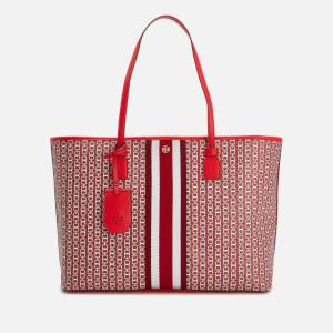 Tory Burch Women's Gemini Link Canvas Top Zip Tote Bag - Dutch Red