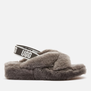 UGG Women's Fab Yeah Sheepskin Slippers - Charcoal