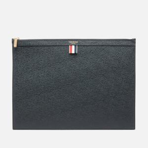 Thom Browne Men's Large Zipper Laptop Holder In Pebble Grain - Black