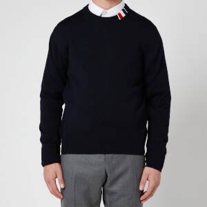 Thom Browne Men's Tricolour Rib Crewneck Jumper - Navy