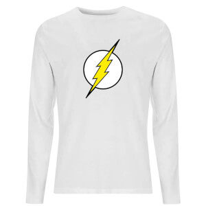 DC Justice League Core Flash Logo Unisex Long Sleeve T-Shirt - White