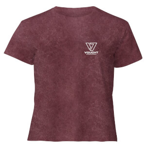 The Boys Queen Maeve Women's Cropped T-Shirt - Burgundy Acid Wash