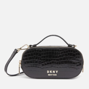 DKNY Women's Octavia Oval Croco Camera Bag - Black/Gold