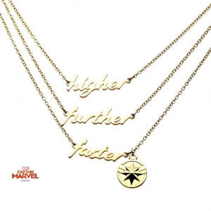Marvel's Captain Marvel Polished Finish 3-Tiered Necklace