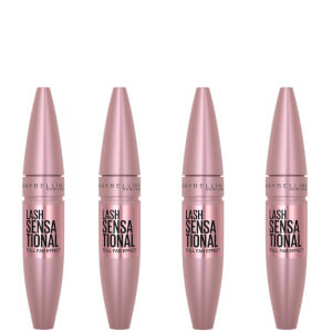 Maybelline Lash Sensational Volumising and Thickening Eyelash Lengthening Mascara - 01 Very Black (Pack of 4)