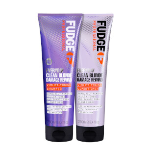 Fudge Professional Clean Blonde Everyday Violet Damage Rewind Purple Shampoo and Conditioner Duo