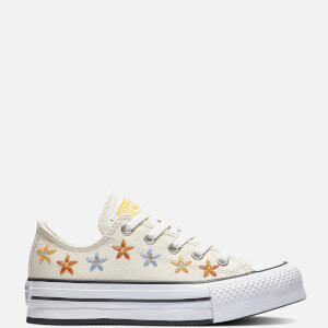 Converse Kids' Chuck Taylor All Star Digital Ox Floral Trainers - Natural Ivory/Egret