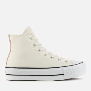 Converse Women's Chuck Taylor All Star Anodized Metals Leather Lift Hi-Top Trainers - Egret