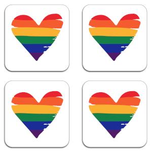Rainbow Heart Coaster Set