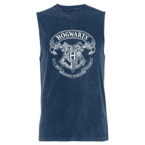 Hogwarts Crest - Navy Acid Wash Men's Vest
