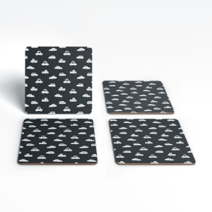 Black And White Cartoon Car Pattern Coaster Set