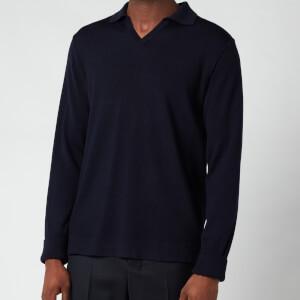 Officine Generale Men's Simone Long Sleeve Polo Shirt - Navy