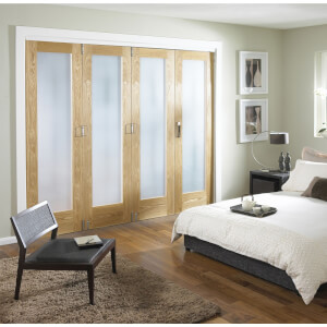 Room Divider Obscure Glazed Oak Veneer - 4 Door - 2545mm Wide
