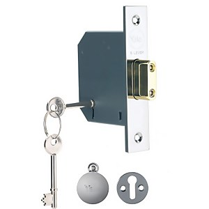 Yale PM552 5 Lever Deadlock 64mm - Chrome