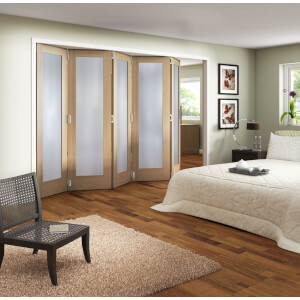 Obscure Glazed Oak Veneer 5 Door Internal Room Divider - 3158mm Wide