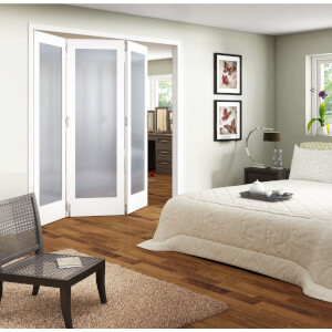 3 Door Obscure Glazed White Primed Internal Room Divider - 1929mm Wide