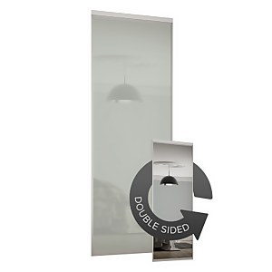 Duo Sliding Wardrobe Door Artic White Glass / Mirror with Aluminium frame (W)914mm