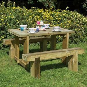 Forest Garden Refectory Garden Picnic Table Sleeper Bench Set - 1.2m