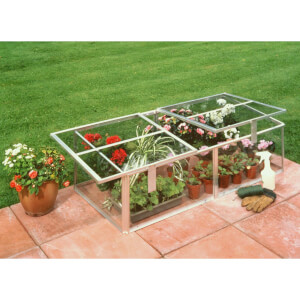 Halls 4 x 2ft Silver Cold Frame with Toughened Glass