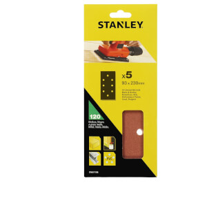 Stanley 1/3 Sheet Sander Punched Wire Clip 120G Sanding Sheets - STA31158-XJ