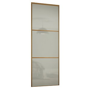 Linear Sliding Wardrobe Door 3 Panel Artic white Glass with Oak Frame (W)914mm