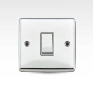 Arlec Metal Screwed 10 Amp 1 Gang 2 Way Switch Polished Chrome