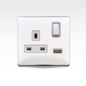 Arlec Metal Screwless 13 Amp 1 Gang Switched Socket with 2 x 2.1 Amp USB Polished Chrome