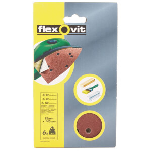 Flexovit Assorted Detail Sanding Sheets - 95 x 145mm - 6 Pack