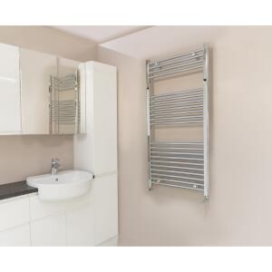 Qual-Rad Straight Heated Towel Rail - 1200mm x 600mm - Chrome