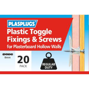 Plasplugs Standard Plasterboard Toggle & Screws x 20