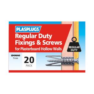 Plasplugs Standard Plasterboard & Screws x 20