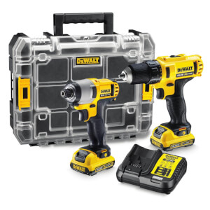 DeWalt 10.8V Twin Pack With Drill Driver, Impact Driver (2x 2.0ah Li-ion Batteries)