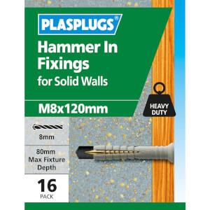 Plasplugs Hammer In M8 x 120
